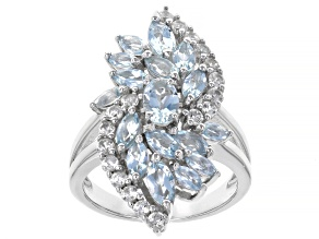 Pre-Owned Blue Aquamarine Rhodium Over Sterling Silver Ring 2.80ctw