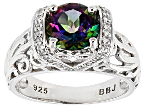 Pre-Owned Green Mystic Fire(R) topaz rhodium over silver ring 2.21ctw