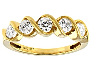 Pre-Owned Moissanite 14k Yellow Gold Over Silver Ring .80ctw DEW