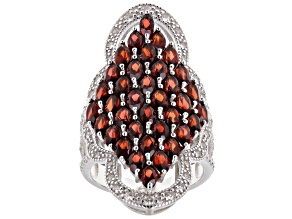 Pre-Owned Garnet Rhodium Over Sterling Silver Ring 6.4ctw