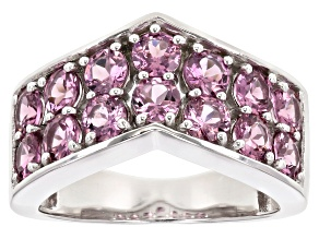 Pre-Owned Pink Blush Color Garnet Rhodium Over Silver Ring 2.92ctw