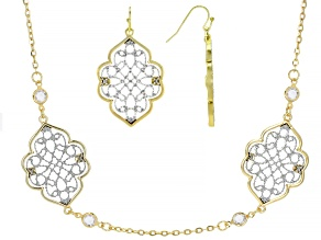Pre-Owned White Crystal Two-Tone Necklace And Earrings Set