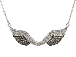 Pre-Owned White, Black And Champagne Diamond Rhodium Over Sterling Silver Necklace .62ctw