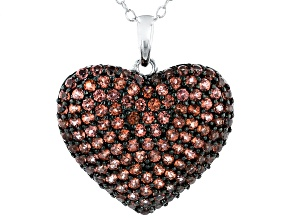 Pre-Owned Red Garnet Rhodium Over Sterling Silver Heart Pendant With Chain 1.75ctw
