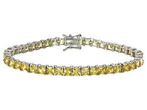 Pre-Owned Bella Luce® 17.96ctw Yellow Diamond Simulant Rhodium Over Silver Bracelet