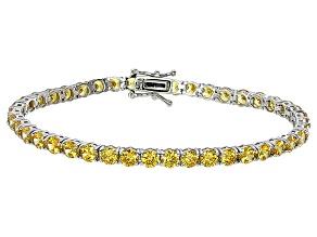 Pre-Owned Bella Luce® 16.96ctw Round Yellow Diamond Simulant Rhodium Over Silver Bracelet