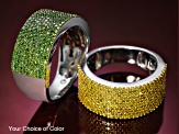 Pre-Owned Yellow diamond rhodium over silver ring 1.00ctw