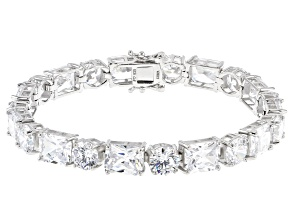 Pre-Owned White Cubic Zirconia Rhodium Over Sterling Silver Tennis Bracelet 69.29ctw