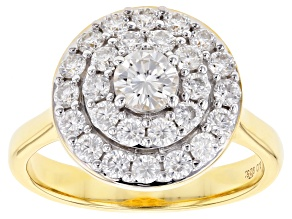 Pre-Owned Moissanite 14k Yellow Gold Over Silver Ring 1.11ctw DEW.