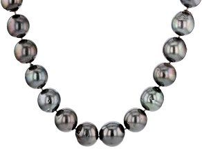 Pre-Owned Cultured Tahitian Pearl Rhodium Over Sterling Silver Necklace 15-18mm
