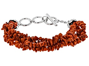 Pre-Owned Red Coral Chip Rhodium Over Silver Bracelet