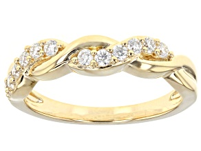 Pre-Owned Moissanite 14k Yellow Gold Over Silver Ring .36ctw DEW.
