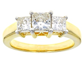 Pre-Owned Moissanite 14k Yellow Gold Over Silver Ring 1.62ctw DEW.
