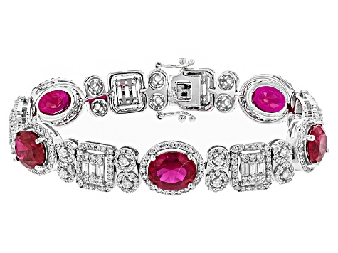 Pre-Owned Red Synth Corundum And White Cubic Zirconia Rhodium Over Sterling Bracelet 23.65ctw
