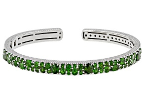 Pre-Owned  Chrome Diopside Rhodium Over Sterling Silver Cuff Bracelet 4.50ctw