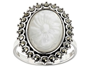 Pre-Owned White Mother-Of-Pearl rhodium over silver ring