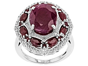 Pre-Owned Red ruby rhodium over sterling silver ring 8.70ctw