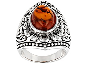 Pre-Owned Orange Amber Rhodium Over Silver Ring