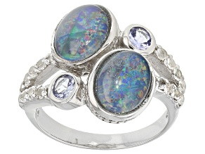 Pre-Owned Multicolor Coober Pedy Opal Triplet Sterling Silver Ring .46ctw