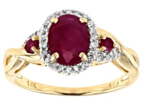 Pre-Owned Red Burma Ruby 14k Yellow Gold Ring 1.30ctw