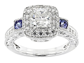 Pre-Owned Moissanite And Tanzanite Platineve Ring 1.94ctw DEW