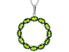 Pre-Owned Green Chrome Diopside Rhodium Over Silver Pendant With Chain 5.50ctw