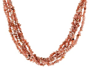 Pre-Owned Rhodochrosite Rhodium Over Sterling Silver 5-Strand Necklace
