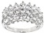 Pre-Owned White Cubic Zirconia Rhodium Over Sterling Silver Ring 3.78ctw