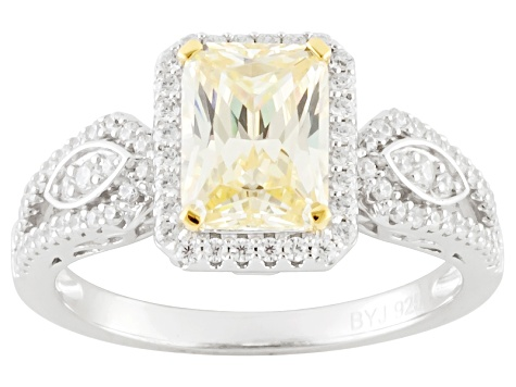 Pre-Owned Yellow And White Cubic Zirconia Rhodium Over Silver Ring 3.67ctw (2.31ctw DEW)