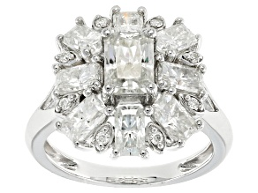 Pre-Owned Moissanite Fire® 3.92ctw DEW Radiant Cut And Round Platineve™ Ring
