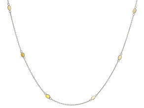 Pre-Owned  Ethiopian Opal Rhodium Over Sterling Silver Station Necklace 3.5ctw