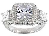 Pre-Owned White Cubic Zirconia Rhodium Over Sterling Silver Ring 7.93ctw