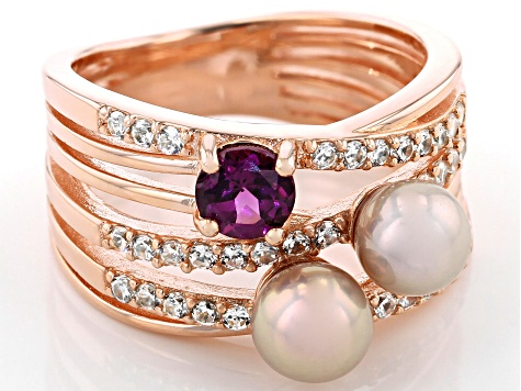 Pre-Owned Cultured Freshwater Pearl, White Zircon, Purple Rhodolite 18k Rose Gold Ring
