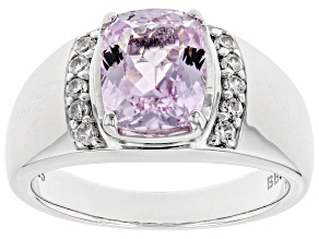 Pre-Owned Pink kunzite rhodium over sterling silver ring 2.63ctw