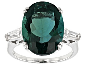Pre-Owned Teal Fluorite Rhodium Over Silver Ring 8.80ctw
