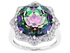 Pre-Owned Multi-Color Quartz Rhodium Over Silver Ring 10.31tw