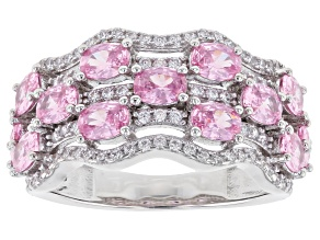 Pre-Owned Pink and White Cubic Zirconia Rhodium Over Sterling Silver Ring 5.05ctw