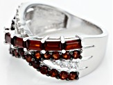 Pre-Owned Red garnet rhodium over sterling silver ring 1.79ctw