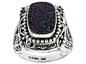 Pre-Owned Violet Blush™ Drusy Quartz Silver Ring