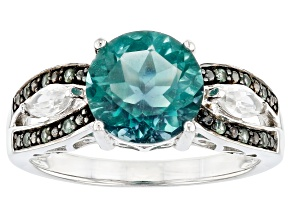 Pre-Owned Scott's 2019 Holiday Collection Teal Fluorite Rhodium Over Silver Ring 2.99ctw