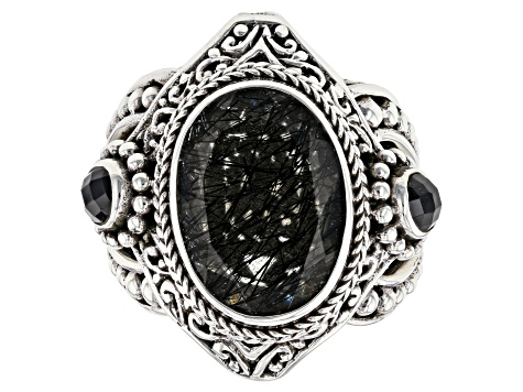 Pre-Owned Black Rutilated Quartz Silver Ring 0.68ctw
