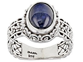 Pre-Owned Star Sapphire Cabochon Silver Ring 3.91ctw