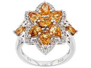 Pre-Owned Orange Spessartite Rhodium Over Silver Ring 3.89ctw