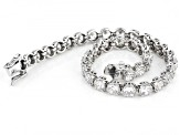 Pre-Owned White Cubic Zirconia Rhodium Over Sterling Silver Tennis Bracelet 16.09ctw
