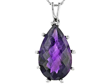 Pre-Owned African Amethyst Rhodium Over Sterling Silver Pendant With Chain 17.00ctw