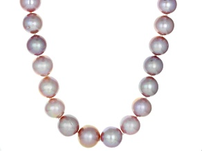Pre-Owned Genusis Pearls(™)11-14mm Natural Lavender Cultured Freshwater Pearl Rhodium Over Silver Ne