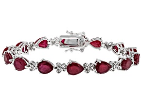 Pre-Owned Mahaleo Ruby Rhodium Over Sterling Silver Tennis Bracelet 11.75ctw