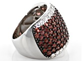 Pre-Owned Red Garnet Rhodium Over Sterling Silver Ring 4.75ctw