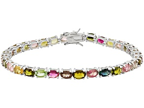 Pre-Owned Multi Tourmaline 12.35ctw Oval, Rhodium Over Sterling Silver Bracelet