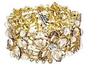 Pre-Owned Multicolor Crystal Gold Tone Floral Statement Bracelet